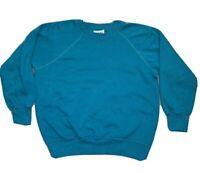 Vintage Bassett Walker Turquoise Raglan Blank Crew Neck Sweatshirt  L USA Made