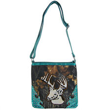 TURQUOISE CAMO STUDDED RHINESTONE STITCHED DEER LOOK MESSENGER BAG SATCHEL BLING