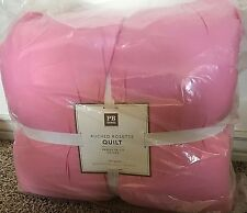 Pottery Barn Teen Ruched Rosette FULL QUEEN quilt PRISM pink 2 SHAMS