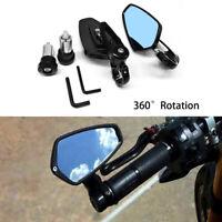 """Motorcycle 7/8"""" 22mm Handle Bar End Rearview Side Mirrors CNC for Honda Kawasaki"""