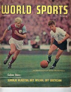 1963 MARCH World Sports magazine soccer Ray Pointer Burnley John White Spurs Gd