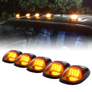 5 Pack Cab Roof LED Clearance Light Truck Marker Running Beacon Amber Fog Lamps