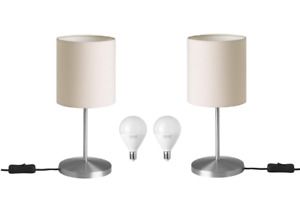 Ikea INGARED Table Lamp (PAIR) w/Bulbs | SHADE: Beige | BASE: Brushed Nickel NEW