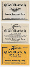 3 dif Krantz Brewing Old Dutch Beer labels Irtp's Findlay Oh
