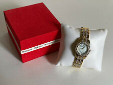 STYLE & CO MOTHER OF PEARL DIAL RHINESTONES CRYSTALS GOLD-TONE BRACELET WATCH