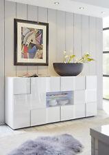 Credenza Moderna, Madia di Design, 2 ante e 2 cassetti, Bianco Lucido
