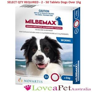 Milbemax For Dogs Over 5kg Allwormer/All Wormer/Heartworm Tablets FREE POST