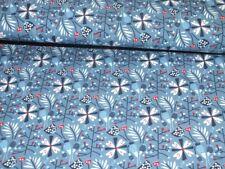 Jersey Nachts im Zauberwald blau Blume Blaubeerstern Kinderstoff 1 Meter B-Ware