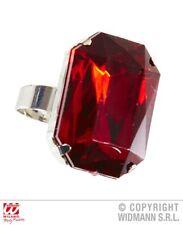 Anello con gemma rossa per travestimento re cardinale boss