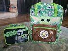 Disney Store Mandalorian Baby Yoda Disney Backpack Star Wars with Lunch Bag NWT