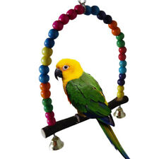 Colorful Beads Wooden Swing Toy Parrot Cage Hanging Bells Birds Accessories LH