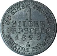 Germany Prussia Friedrich Wilhelm III 1 Silber Groschen Coin 1825 A, EF