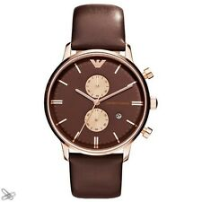 EMPORIO ARMANI MEN'S WATCH AR0387 Chronograph Real Leather Colour: Brown Rose