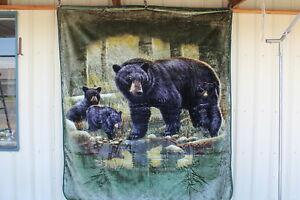 BEAR AND CUBS CUB FOREST STREAM QUEEN SIZE BLANKET
