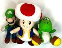 """Authentic Super Mario Plush Lot of 3 Luigi 8"""" Yoshi 6 """" Toad Mushroom 10"""""""