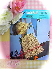 Vintage Crochet Pattern Baby Girls Dress & Hat 3 sizes £2.49 + FREE P&P!