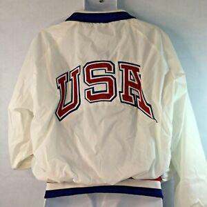 Vintage OLYMPICS Satin Bomber Jacket Sz XL USA National Team USA Made 1988