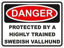 Dog Breed SWEDISH VALLHUND Danger Sticker Pet For Bumper Locker Car Door