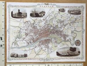 Old Antique Victorian map & vignettes Glasgow, Scotland 1800's Tallis Reprint