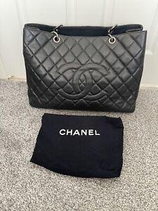 Genuine CHANEL Caviar GST Grand Shopping Tote Chain Shoulder Bag Black
