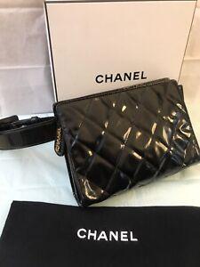 CHANEL CC Matelasse Waist Pouch Bum Bag Enamel Patent Leather Black Gold