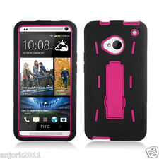 HTC One (M7) Hybrid S Armor Hard Case Skin Cover w/Stand Black Hot Pink A1