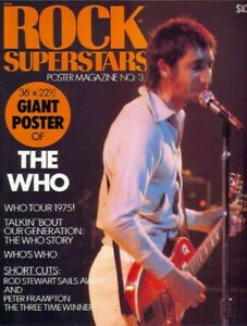 """1975 THE WHO POSTER MAGAZINE 36X22"""" RARE NEW COND!! MUST SEE!!!FREE S&H"""