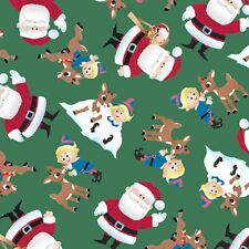 Fun With Rudolph-Green B/G-Santa-Rudolph & Misfit Toys-1 Yd.-Quilting Treasures