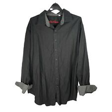Robert Graham Black  Paisley Print Long Sleeve Shirt 2XL XXL Flip Cuff