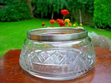 Vintage Cut Glass Fruit Bowl with Silver Plated (EPNS) Rim - Good Condition