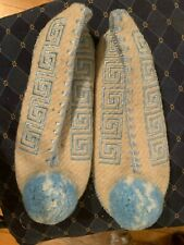 MINAS Slippers women's Sz 11 US white/pale blue Greek Wool and Leather Sole