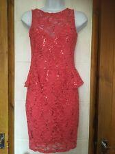 Gorgeous Ladies Jane Norman Lace & Sequin Coral Dress Size 10