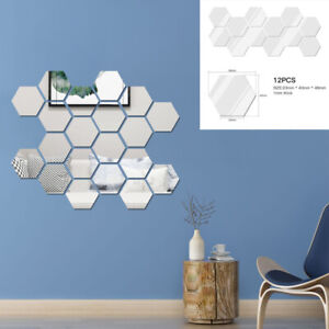 12 x 3D Mirror Tiles Mosaic Wall Stickers Self Adhesive Bedroom Art Decal Home