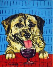 Anatolian shepherd wine 11x14 art artist prints dogs animals abstract