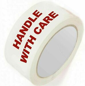 """HANDLE WITH CARE FRAGILE TAPE   50MM 2""""X 66M PRINTED PACKING PARCEL  BOX SEALING"""