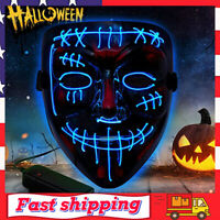 Purge Mask Light up LED Halloween Mask  LED Glow Mask for Costume Party (Red)