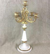 Antique French Candlestick Candelabra Alabaster & Ormolu Gold Large Ornate