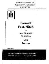 Ih Farmall Fast Hitch For Mccormick Farmall Cub Tractor Operator Instruction Mai