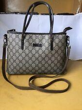 Auth GUCCI GG 353440 Ivory DarkBrown Leather Small 2-Way Crossbody Handbag