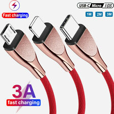 1M/2M/3M 3A Fast Charging Cable Micro USB Type C Data Cord Charger For iPhone 12