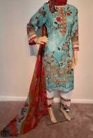 Pakistani women 3pc Readymade Embroidered lawn shalwar kameez suit Medium