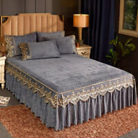 Crushed Velvet Elastic Bed Skirt Queen Qulited Bedspread Set King Full Bed Cover
