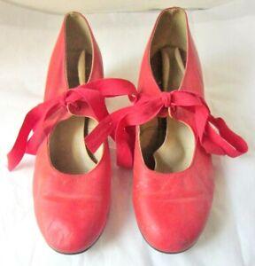 Vintage A & D Anello Davide Tap Dance Shoes- Red w/Ties- Size 41/2 - London