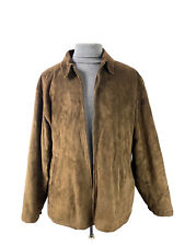 Polo Ralph Lauren Suede Leather Jacket Coat Mens Size XL Full Zip Fleece Lined