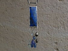 necklace argent 925, 1 lapis lazuli,cyanites,pyrites,aquamarine