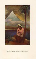 Frau in Landschaft Kunstdruck 1925 W. Heuser * † Düsseldorf Pyramide Ägypten +