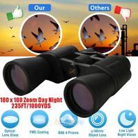 10-180x100 Zoom 50mm BAK4 Binoculars Day/Night Vision Telescope Waterproof+Bag