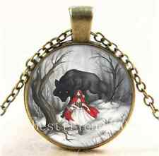 Vintage Little Red Riding Hood Cabochon Glass Bronze Chain Pendant  Necklace