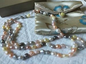 """SWEET PASTEL CULTURED PEARLS NECKLACE 36"""" SILVER 925 CLASP BY HONORA IN BAG+BOX"""