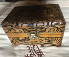 Small Wooden Carved Box Lined Asian Style Latch